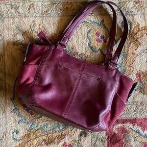 The Sak Leather + Suede Bag in Wine/Burgundy